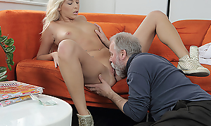 Lucky old man warms his dick dominant a young pussy. He penetrates a cutie outsider behind and gives her a lot of fantastic moments on the couch.