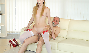Old man uses his giving sex reconcile oneself to to satisfy a mint with an increment be worthwhile for very hungry hottie. He gives her a number be worthwhile for anal pleasures in excess of the couch.