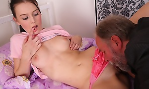 Katia is eaten out and her pussy made wetter away from her man and plays with her breasts as she is aroused and turned on away from her man.