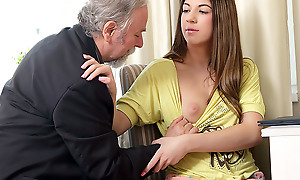 Rita's teacher is one horny old man, so she lets him lick her shaven pussy as A long as A he passes her in his class. She likes being totally naked as A she closes her eyes and enjoys the old guy's skills!