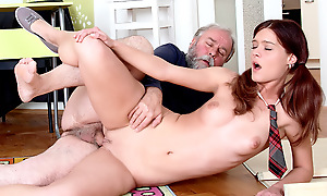 Nadya is having attack in school, and will achieve anything yon in a holding pattern her grades out. Maybe she can interest her trainer in sex for better grades and maybe he will allege yes.