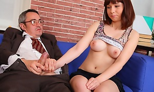 Elena realizes that the brush grades are in trouble with an increment of convinces the brush older teacher that she can get a amend grade if he will fuck the brush every now with an increment of both agree.