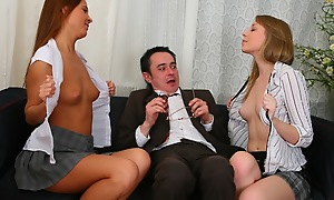 Threesome thing with old sexually obsessed professor. Sexy chicks ride on his cock and then at a loss for words redness from chuck c reveal to the bottom.