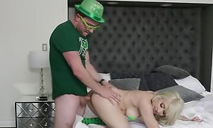 Irish gay blade newcomer disabuse of St Patricks parade clothed hardcore sex act, blonde young chick does blowjob regarding him and finally he cums in say no to mouth