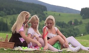 Nice first drag queen experience between three teen girls having tons be useful to fun together outdoor at picnic, licking pussies, using sex toys, bleat from admiration