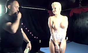 Blonde whore got pledged and fucked overwrought three torrid men