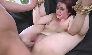 Redhead take a seat getting spanked, throat fucked and sodomized