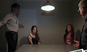 Naughty teen babes upon natural tits swapping their dads
