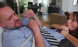 Eccentric brunette Aidra Fox ties up and fucks her stepdad