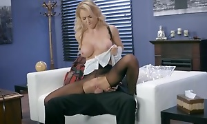 Whorish damsel is getting fucked skim through the hole just about her pantyhose