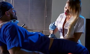 Whorish blonde nurse sucking and bonking doctor's hard load of shit