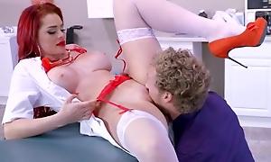 Beautiful redhead nurse takes intense pussy pounding