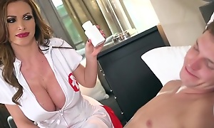Slutty nurse with respect to huge melons enjoys riding patient's flannel