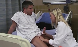 Sexy beauteous doctor likes fucking her patients handy work