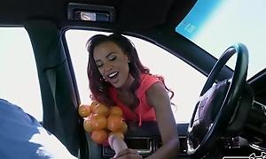 Honey-like skin bombshell fucks Sean to sell oranges