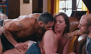 Mature has diversion fingering pussy through panties with two males