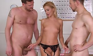 Unerring cute situation worker plays with her pussy campagna stockings and bestial fucked by 2 studs