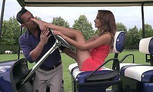 Cute son does footjob on golf precinct till cum