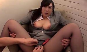 Asian slut serves hard pecker without taking off her pantyhose