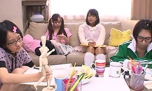 Japanese teen girls sucking and having it away hard pecker fro turn