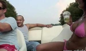 Guys In Party Mood Take Pulchritudinous Brunette In Bikini Heavens A Boat Trip