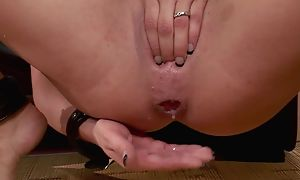 Crazy brunette with broad in the beam Bristols gets regarding fucked in threesome
