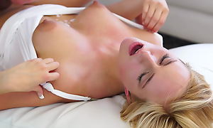 Cum vitalized blonde Kate England uses her big areola tits and juicy mouth to seduce her man into a wild bald pussy ride