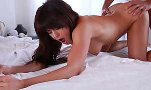 Tanned toned nightfall darkness Rahyndee James gives her lover a hot wet blowjob and a breakneck ride in her juicy soft pussy