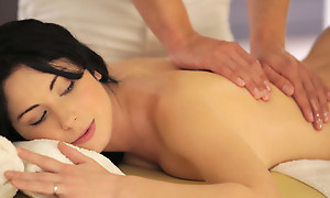 Raven haired be nostalgic for Luna Ora enjoys an erotic massage that leads anent a juicy blowjob and a vulpine wet bald pussy pounding