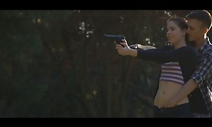 Sex goddess Amber Nevada distracts their way guy as he shoots his gun to pull him into a wet blowjob with the addition of bald pussy fuckfest