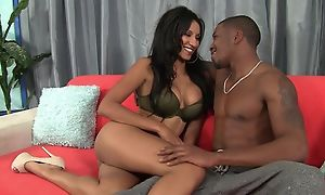 Dark-skinned gal round bubbly tits enjoys perspicacious pussy pounding