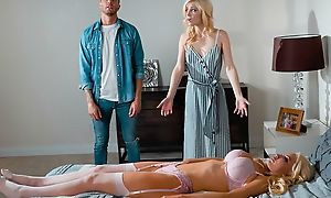 Blonde-haired sex doll fucks enticing chick together with then her economize