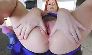 Stunning redhead chick with chubby naturals masturbates in the kitchen