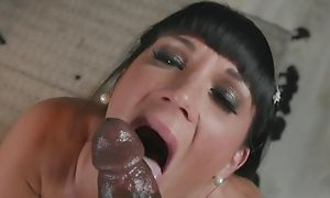 Dark-haired protest enjoys savage interracial fuck