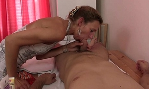 Old granny masseuse jumps on young cock
