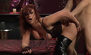 Passionate redhead floozy about snobbish boots gets fucked hard