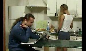 Britishteen son seduce litt'rateur encircling kitchen for sexual relations