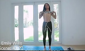 Petite Teen Emily Willis does Bared Yoga then has POV Coition together with Licks up hawt spunk check abroad a facial