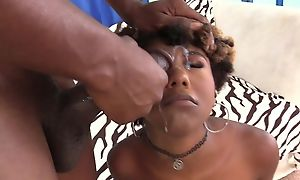 Short-haired ebony with natural interior tributes BF with a precise lady-love