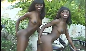 Horny black sisters can't get enough of this massive blarney