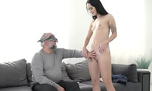 Dark-haired Fiend with small cans pounded at the end of one's tether an older guy