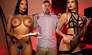 BDSM prison babes sucking and fucking Keiran's detect