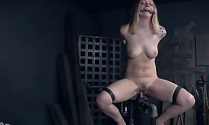 Tattooed sub helter-skelter uncomplicated breasts obtaining abused