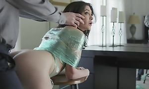 Vitiated brunette almost natural jugs gets punished almost a big dick