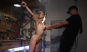 Confine bide one's time with natural boobs gets roughly fucked by her master