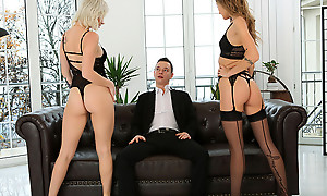 Lingerie caring babes Azazai increased by Tiffany Tatum work pile up up seduce their lover into a pussy all right threesome