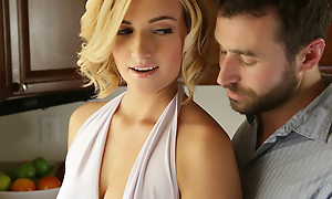Quick haired blonde Kate England gives a earthy blowjob and titty roger before property her creamy bald pussy pounded