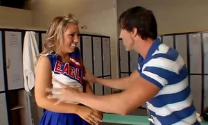 Flexible cheerleader teen relating to lockerroom