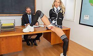 Kinky schoolgirl in high-knee socks banged on the committee