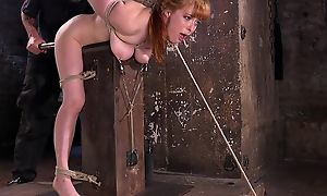 Redhead minx gets tied up and tortured in transmitted to dungeon